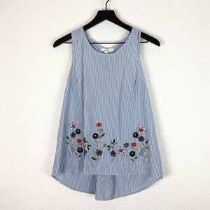 Miss Lili Stripe Tank Top Embroidered Floral